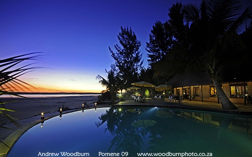 Pomene Lodge sunset evening copyright A Woodburn
