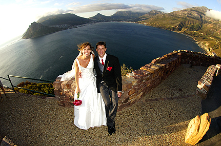 copyright Andrew Woodburn collection, wedding photography of the bridal couple  on Chapmans peak drive