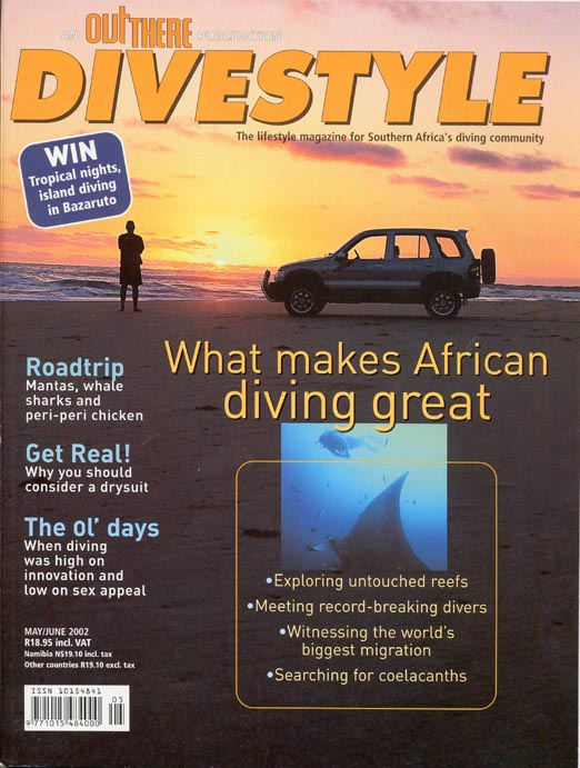 Andrew Woodburn Divestyle Magazine cover mozambique road trip, Manta rays, sharks