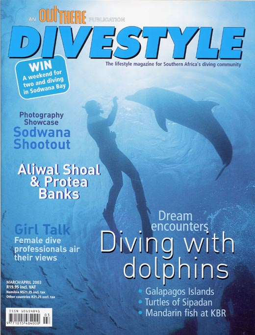 Andrew Woodburn Divestyle magazine of swimming with dolphins