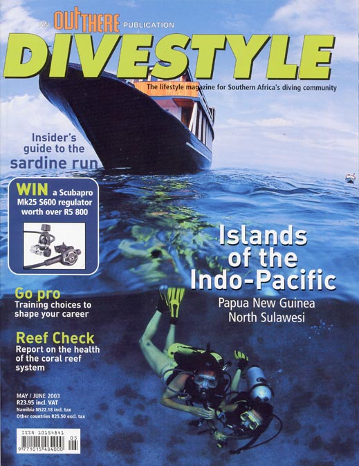 Andrew Woodburn Divestyle magazine cover photo of liveaboard in wallacea sulawesi Indonesia