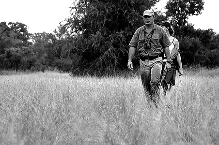 copyright Andrew woodburn www.woodburnphoto.co.za bush walking with armed ranger in the kruger park , rhino walking safaris