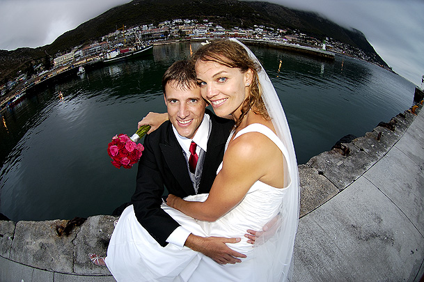 copyright Andrew Woodburn collecion, wedding photography of the bridal couple at kalk bay capetown